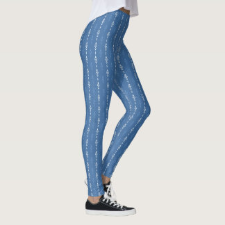 Contemporary wallpaper look blue and white leggings