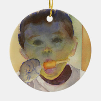 """Contemporary Watercolor Painting """"Orange Popsicle"""" Christmas Ornament"""