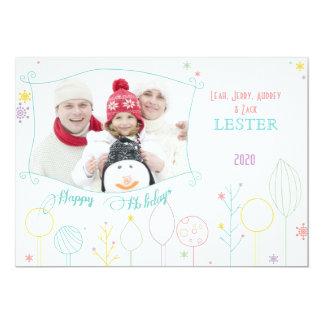 Contemporary White Christmas Holiday Photo 13 Cm X 18 Cm Invitation Card