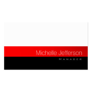 Contemporary White Red Black Gray Business Card