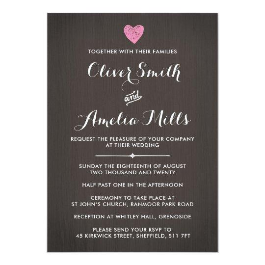Contemporary Wood Wedding Invitation