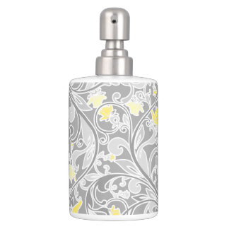 Contemporary Yellow and Gray Swirly Floral Bathroom Set