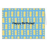 Contemporary yellow peanut pattern on blue