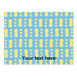 Contemporary yellow peanut pattern on blue postcards