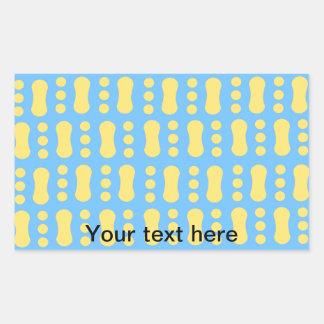 Contemporary yellow peanut pattern on blue rectangular sticker