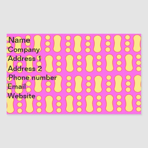 Contemporary yellow peanut pattern on pink sticker