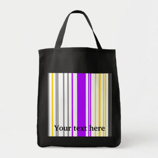 Contemporary yellow violet and white stripes grocery tote bag