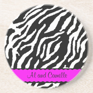 Contemporary Zebra Stripes With Hot Pink Ribbon Coaster
