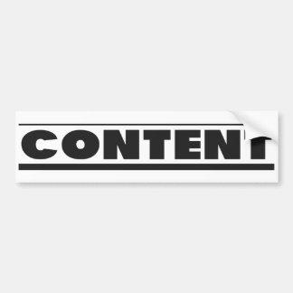 CONTENT - Bumper Sticker
