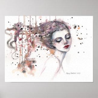 Content Fantasy Watercolor Art Woman 12 x 16 Poster