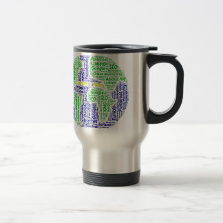 content-is-king word-cloud Social Media Text Stainless Steel Travel Mug