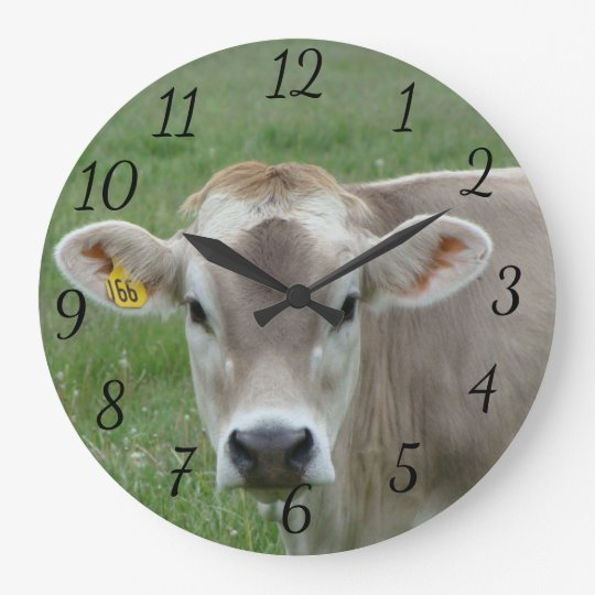 Contented Jersey Cow Large Clock