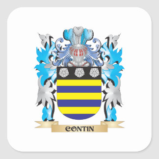 Contin Coat of Arms - Family Crest Square Stickers