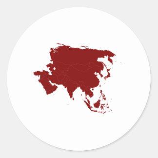 Continent of Asia Round Sticker