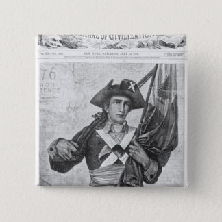 Continental Soldier holding a musket flag 15 Cm Square Badge