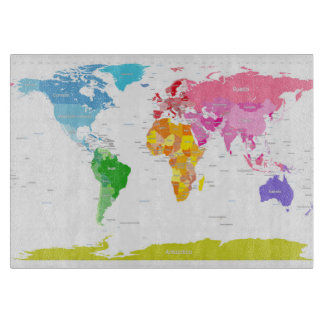 Continents World Map Cutting Boards