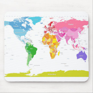Continents World Map Mouse Mat