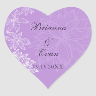 Contoured Bloom Lilac Wedding Sticker