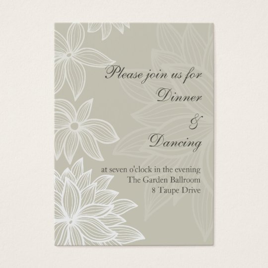 Contoured Bloom Taupe Reception Card
