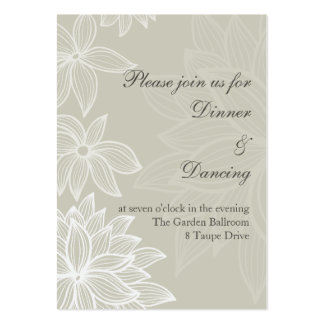Contoured Bloom Taupe Reception Card Business Card Templates