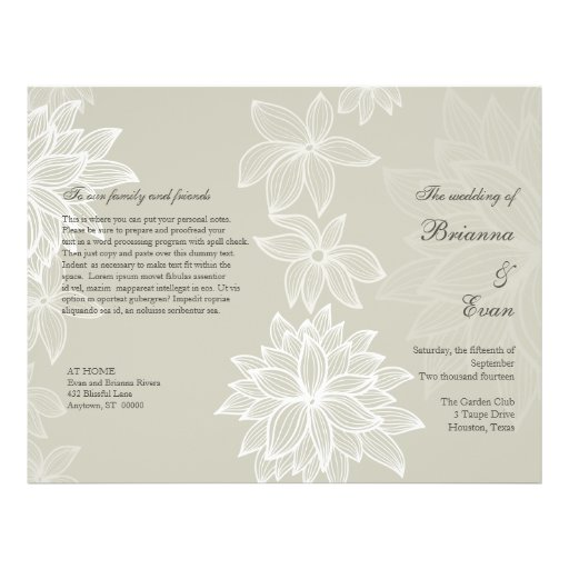 Contoured Bloom Taupe Wedding Program Flyer