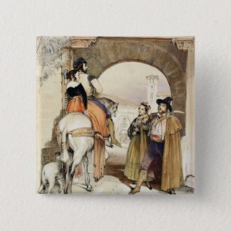 Contrabandistas, from 'Sketches of Spain', engrave 15 Cm Square Badge
