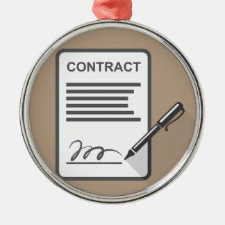Contract Icon Silver-Colored Round Decoration