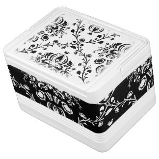 Contrast Black and White Damask Igloo Cooler