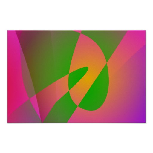 Contrasting Abstract Colors Dark Pink Poster