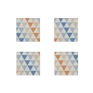Contrasting Blue Orange And White Triangle Pattern Stone Magnet