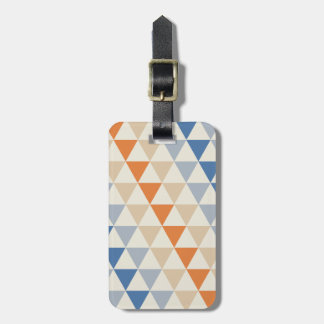 Contrasting Blue Orange And White Triangle Pattern Luggage Tag