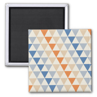 Contrasting Blue Orange And White Triangle Pattern Refrigerator Magnet