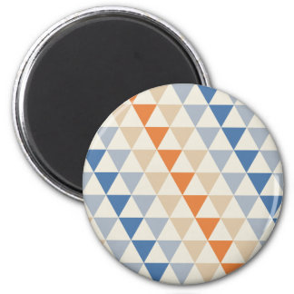 Contrasting Blue Orange And White Triangle Pattern Magnet