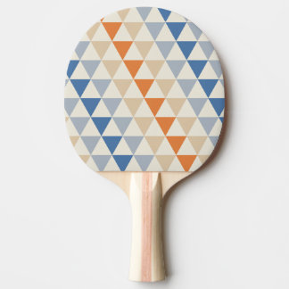 Contrasting Blue Orange And White Triangle Pattern Ping Pong Paddle