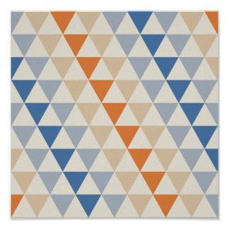 Contrasting Blue Orange And White Triangle Pattern Poster