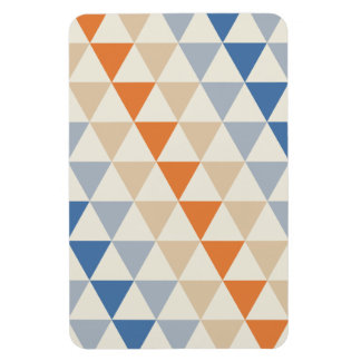Contrasting Blue Orange And White Triangle Pattern Rectangle Magnets