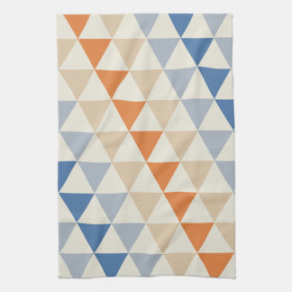 Contrasting Blue Orange And White Triangle Pattern Tea Towel