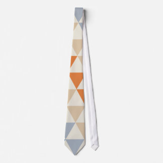 Contrasting Blue Orange And White Triangle Pattern Tie
