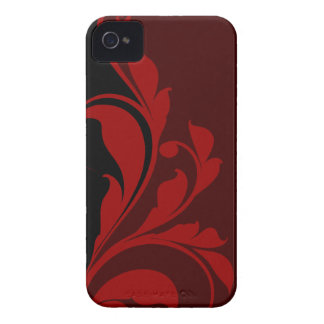 Contrasting Red Black Floral Flourish iPhone 4 Cover