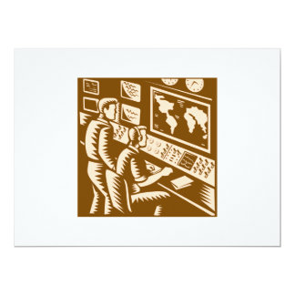 Control Room Command Center Headquarter Woodcut 17 Cm X 22 Cm Invitation Card