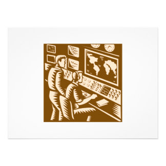Control Room Command Center Headquarter Woodcut Personalized Announcements