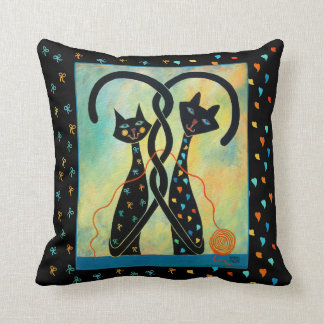 "Controlled Chaos Black Cats Throw Pillow 16"" x 16"""