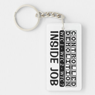 Controlled Demolition WTC Building 7 Inside Job Double-Sided Rectangular Acrylic Key Ring