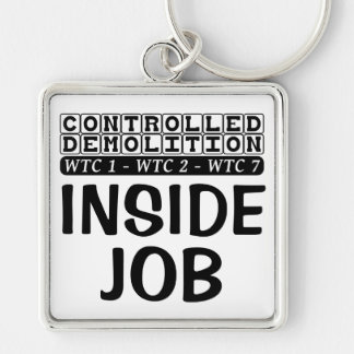 Controlled Demolition WTC Building 7 Inside Job Silver-Colored Square Key Ring
