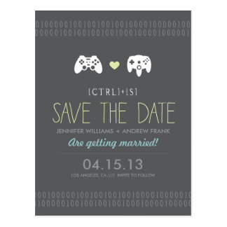 Controller Love Save the Date Postcards