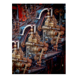 Controls of a steam locomotive engine postcard