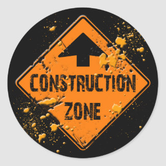 CONTRUCTION ZONE ROAD SIGN STICKER
