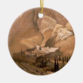 Convent of St. Catherine with Mount Horeb, Februar Round Ceramic Decoration