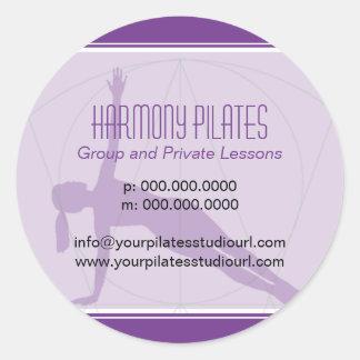Convergent Lines Purple Pilates Round Sticker