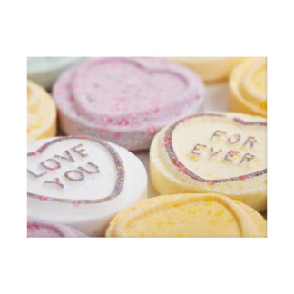Conversation hearts candy I Love You Forever photo Canvas Print